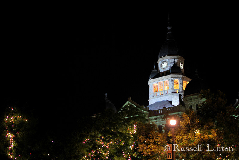Historic Denton Courhouse on the Square at Night