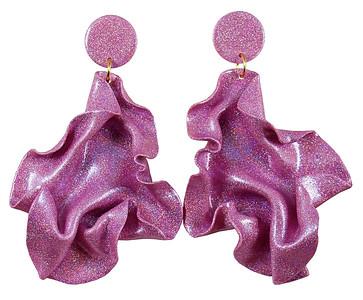 Satin round top pink glitter