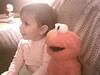 Clare and Elmo Watching Cartoons