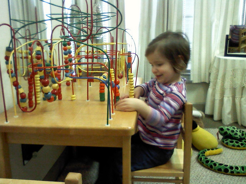 Clare playing at Dr. Thompson's Office