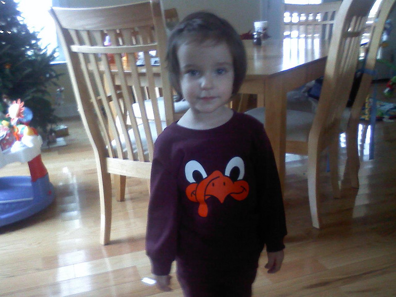 Clare with her Hokie Bird shirt just before going to her first basketball game in Blacksburg