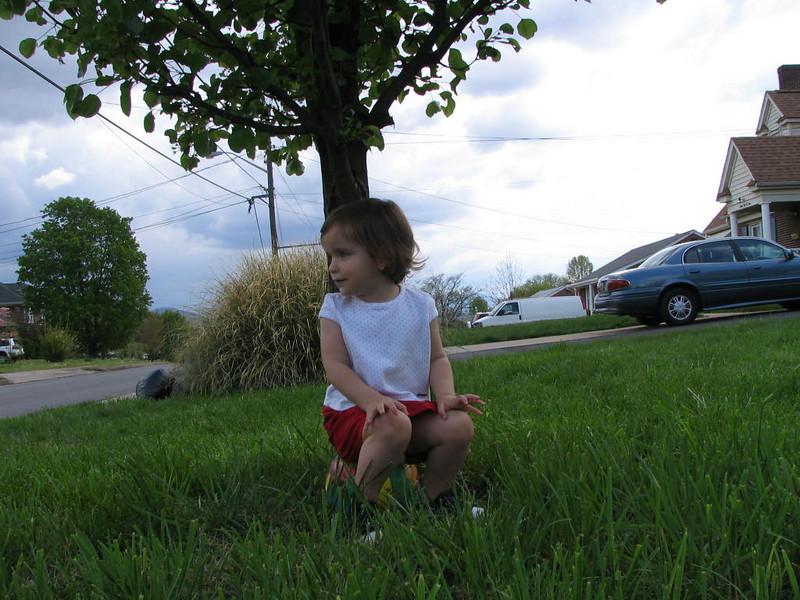 Clare sitting under Grandma's Tree