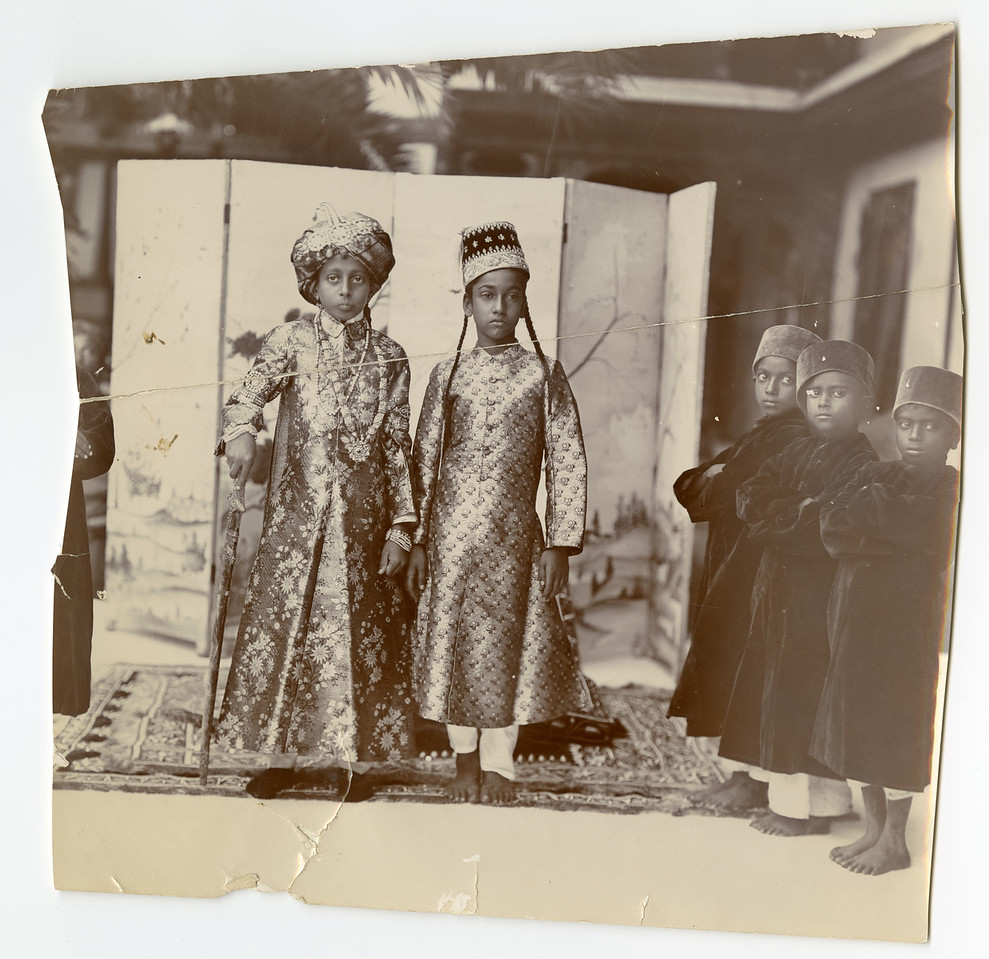 Hyderabad Palace 2 Princes and Three Attendants Raja Deen Dayal