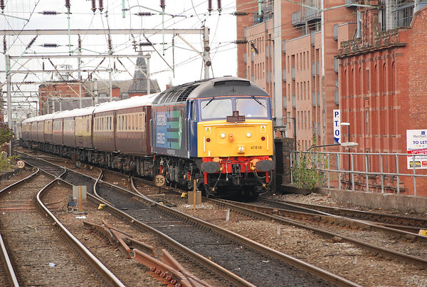 47 818 / 47790 on rear  Location Manchester Oxford Road   Date 22 nd July 011   Working 1Z22 07.00 Newcastle - Knutsford Northern Belle
