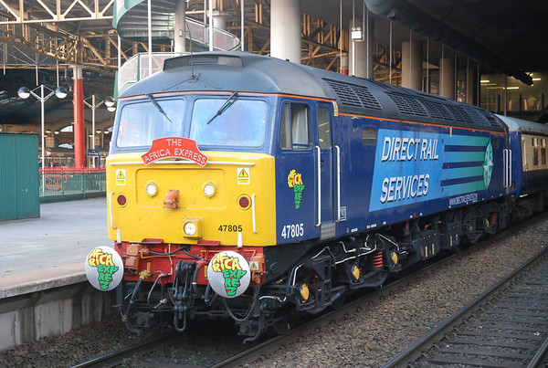 Nice close up of 47 805 complete with Africa Express Headboard & Africa express logos on the cab side under drivers window