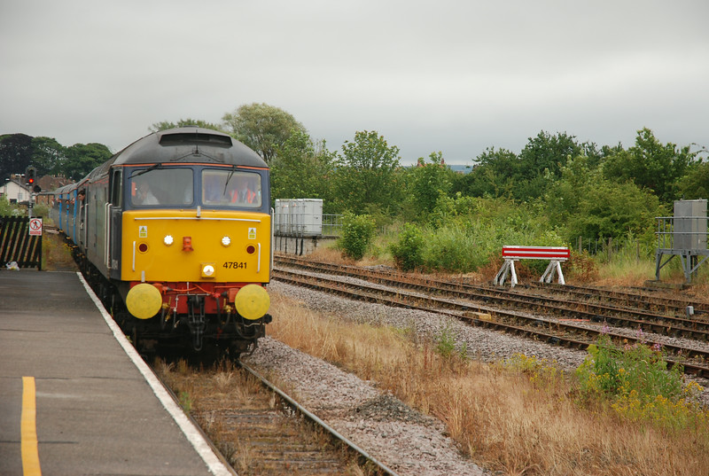 Day one <br /> <br /> 5th July 2014 <br /> <br /> I was unable to make it to Liverpool Lime Street for the 06.22 <br /> to Scarborough <br /> <br /> So next best move was to do a train to Malton on the Scarborough Line to pick up the Shuttles return working back to Liverpool <br /> <br /> The above shows <br /> <br /> 47 841 leading it's 6 coach rake into Malton with 47 853 on the rear <br /> <br /> on 1Z85 09.50 Scarborough - Liverpool Lime Street