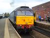 47 818 swings on the rear as 47 790 departs Chorley working <br /> <br /> 5Z13 14.36 Chorley - Preston Emptys