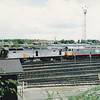 Crash damaged 47050 sits with withdrawn 47249 'SEA HAWK' out the front of Tinsley TMD on 13th May 1995