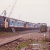 NSE 50026 and 50045 share the scrapline with short lived 47/8, 47852 at Booths Rotherham on 27th September 1992