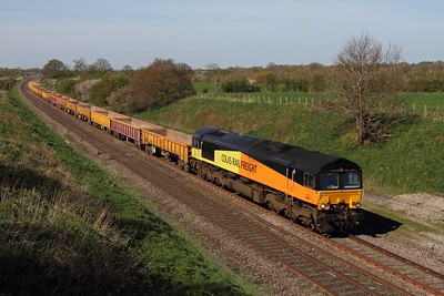 66846 on hire to DB Schenker works the 6M26 Westbury yard to Stud Farm at Compton Beauchamp east of Swindon on the 15th April 2014