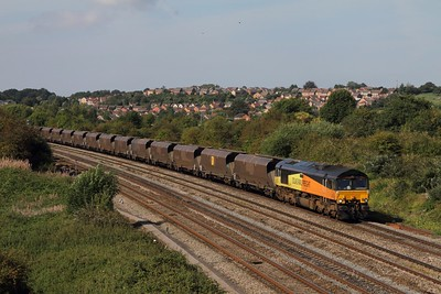 66849 on 4C30 Aberthaw PS - Gloucester New Yard approaches STJ at Undy on 08-09-2014