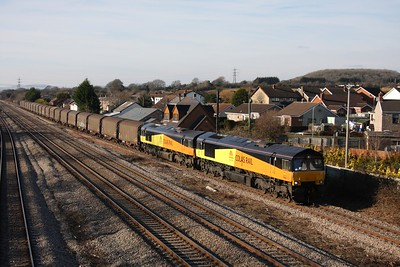 66845 leads 66844 on 6O55 Llanwern-Dollands Moor through Magor on the 30th January 2011