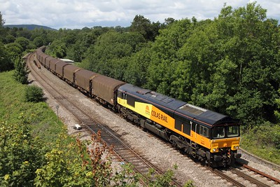 66844 powering the 6O78 Margam to Dollands Moor steel at Miskin on the 29th June 2011