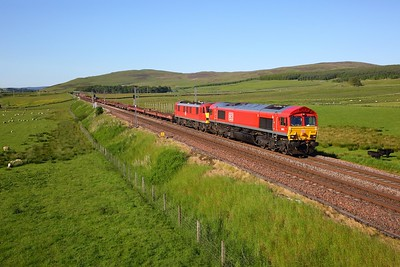 66018+90029 on the 6L35 Mossend to Dagenham at Wandel on the 26th June 2019