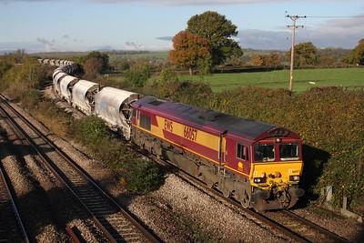 66057 on 6M60 St Blazey to Bescot over Bishton Floyver on the 6th November 2010