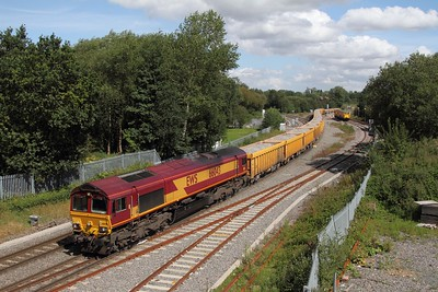 66043 on 6G16 Stud Farm to Bescot at Whitacre junction on the 28 August 2012  73208 212 in the  loop to take a tamper to West Ealing that night