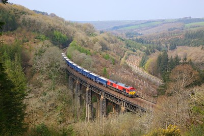 66041 on the 6C12 Burngullow to Exeter Riverside at Largin viaduct on the 13th April 2019