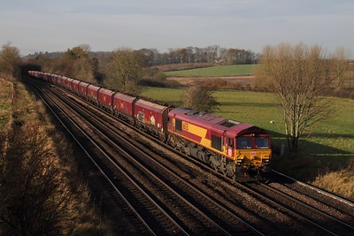 66031 on the 4C72 0942 Scunthorpe to Immingham at Melton Ross on the 24th November 2014