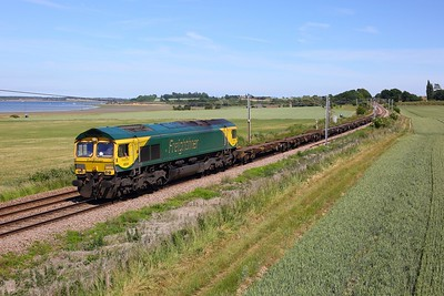 66504 works the 1445 Parkeston SS GBRf to Ipswich S S  at Bradfield near Mistley on Harwich line on 15 June 2020  Freightliner66
