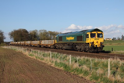 66519 on the 4Z34 1648 Whitemoor Yard - Stapleford & Sandiacre loaded sleeper wagons at East Goscote on the 29th April 2013