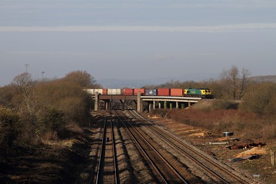 66420 working 4O70 Wentloog to Southampton over the Bishton Flyover over the Bishton Flyover on the 16-02-2016 1