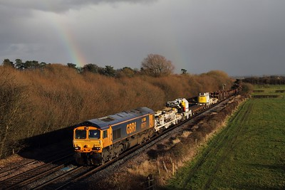 66707 hauls the 6K50 Toton to Crewe Basford Hall at Barrow upon Trent on the 21st February 2014