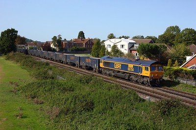 66704 working 4Y19 Mountfield to Southampton gypsum at Chertsey on 18 September 2020  GBRf66, Chertseyloopline