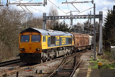 66707 on the 6V32 Tilbury to Trostre at Gospel Oak on the 7th March 2019