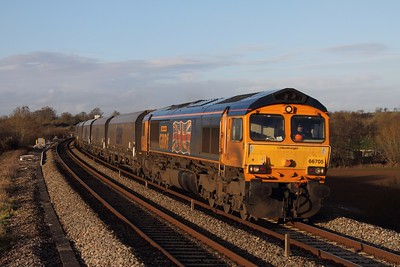 66705 on the 4V94 Ironbridge to Portbury Biomass at Charfield on the 2nd January 2014