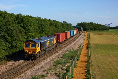 66701 works the 4M02 1724 Felixstowe South to Hams Hall at Trimley on Felixstowe Branch on 15 June 2020, GBRf66