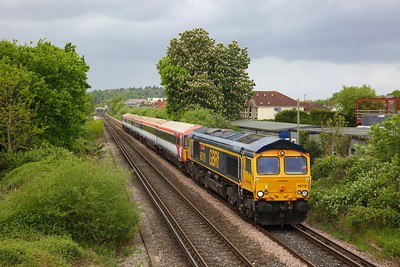 66710 hauls 442407 as 5Q42 0940 Ely Mlf Papworth sidings to Eastleigh Arlington at Chertsey on 30 April 2020