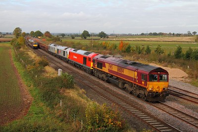 66004 leading 60091, 67026 and 67029 on the 7G99 Toton to Bescot engineers at Elford on the 20th October 2012