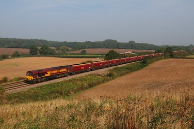 66011 on the 4V70 Ratcliffe to Portbury at Damery on the 9th September 2014