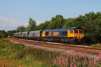 66707 on the 4V94 Ironbridge to Portbury at Yate on the 6th August 2014