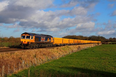 66705 on the 6M60 Whitemoor to Mountsorrel at Rearsby on the 15th January 2015