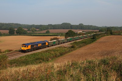 66715 on the 6V80 West Burton to Portbury at Damery on the 9th September 2014
