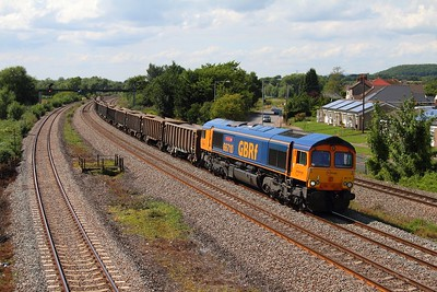 66710 6A85 Grange Sidings to Acton yard at Magor on the 6th August 2013