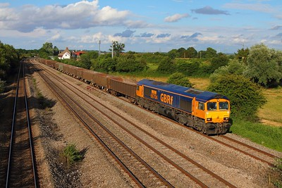 66704 on the 6V83 Peterborough to Moreton on Lugg at Undy on the 8th July 2014