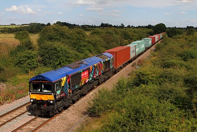 66718 on the 4M23 Felixstowe to Hams Hall at Brentingby near Melton Mowbray on the 9th August 2014