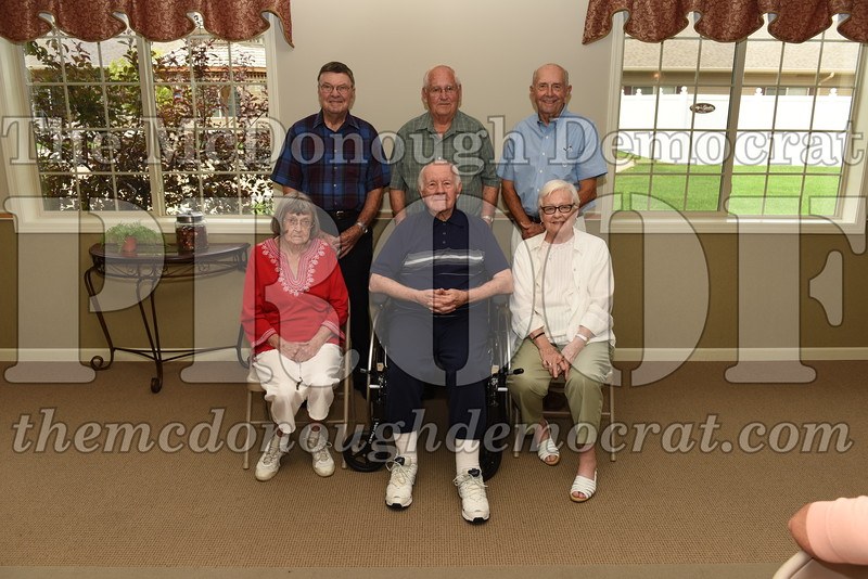 Seated (l-r) Pat (Riley) Lafarey, Bob Swanson, Barbara (Roger) Kimeu. Standing (l-r) Robert DeRenzy, Hollis Campbell, Don Crawford