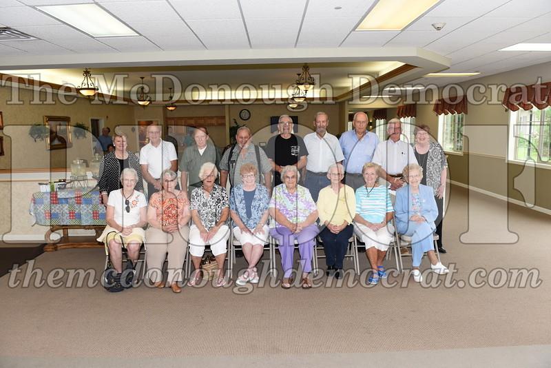 Seated (l-r) Marcia (Miller) Pershing, Suzanne (Overman) Novicki, Betty (Stehl) Dimmit, Claire (McGee) Dosier, Opal (Beaty) Maple, Opal (Worthington) Heaton, MonaLou (Kukuk) Stoller, Ethel (Hobbs) Loy. Standing (l-r) Joyce (Lay) Howe, Duane Spangler, Duane Hobbs, Charles Mullingan, Paul Dimmitt, Ken Vancil, Loel Crawford, George Pensinger, Carol (White) Leigh.