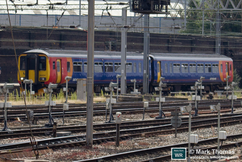 156404 arrives at Crewe with 1K99 10.42 Derby to Crewe on 23rd July 2016.