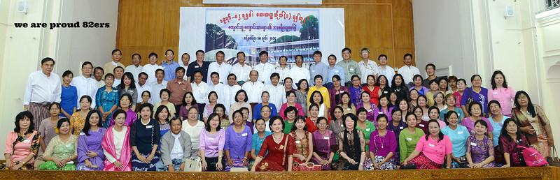 caption credit: moe mya mya, 82ers' maw khun htein<br /> <br /> 1st Row: From left to right :<br /> Khynn Than Win, Khin Swe Oo (MM), Hla Hla Khine, Moe Thuzar, Si Lay Khaing, Maung Maung Lay, Khin Thuzar Kyaw, Khin lay Nyo(Sandar Lin), Khin May Aung, Wah Wah Thi, Khin Khin Wai, Thida Kyu, Myint Myint Khaing, Ohnmar Khaing, Khynne Swe Myint, Hnin Nwe Aye, Aye Aye Thet, Khin Khin Swe, Khin Aye Yi<br />  <br /> 2nd Row: From left to right :<br /> Dolly Mg. Mg., Mar Mar Aye, Khin Hnin Yu, Pyone Pyone, Khin Soe Soe Hlaing,  New Ne, Thwe Thwe Win, Peter Leong, Moe Mya Mya, Sandar Khin Maung, Khaymar Mya, Hla Hla Kyi(NLB), Than Than Sint, Nyun Nyun Win, Khin Khin Thet, Soe Soe Myint, Khin Sandar Oo, Khin Thida<br />  <br /> 3rd  Row: From left to right :<br /> Win Khin, Ni Ni Kyaw, Myo Tint, Khin Mar Cho, Khin Sabai, Su Su Tint, Aye Aye Khin, Nwe Ni Htun, Ma Sein Win, Thi Thi Htwe, Aye Aye Myint, Aye Aye Nyunt, Aye Aye Kywe, Aye Aye Thet, Aye Aye Thein(Beik), Yee Yee Lwin, Hla Hla Htay, San San Myint, Naing Naing Aye, Khin Mya Oo, Nang Ohn Mar, Khin San Myint(Ygn), Ma Shwe Thi, Thyn Thyn Swe<br />  <br /> 4th Row: From left to right :<br /> Zaw Myint, Tha Yin Myat, Aung Kyi, Lwin U, Sein Win, Myo Aung, Aung Htay, Tin Maung Chit, Aung Shwe Saw, Myo Paing, Thinn Thinn Aye, Lucy Dey, Kyu Kyu Thwin, Win Win Aye, Aye Aye Thein(Ygn), Tin Nwe Win, Than Than Yee, Thin Thin Hla, Khin Mar Lar Win, Kyin May Thin, Ma Khin Pyone, Ma Thida, Win Win Htay<br />  <br /> 5th Row: From left to right :<br /> Tin Naing, Myo Tun, Maung Maung Kyaing, Maung Aung, Aung Thu, Win Hlaing, Aung Hein, Win Aung, Aung Gyi Mg. Kyin Htwe, Cho Win Zaw, Dominic Maung Maung., Ye Ngwe, Thant Zin (USA), Kyaw Win, Kyaw Lin Tu, Myint Aung, Mynn Htyn