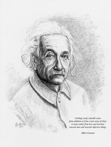Einstein with quotation artist: dominic chiong 2003