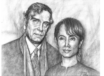 Daw Aung San Suu Kyi and husband artist: dominic chiong Oct 2012