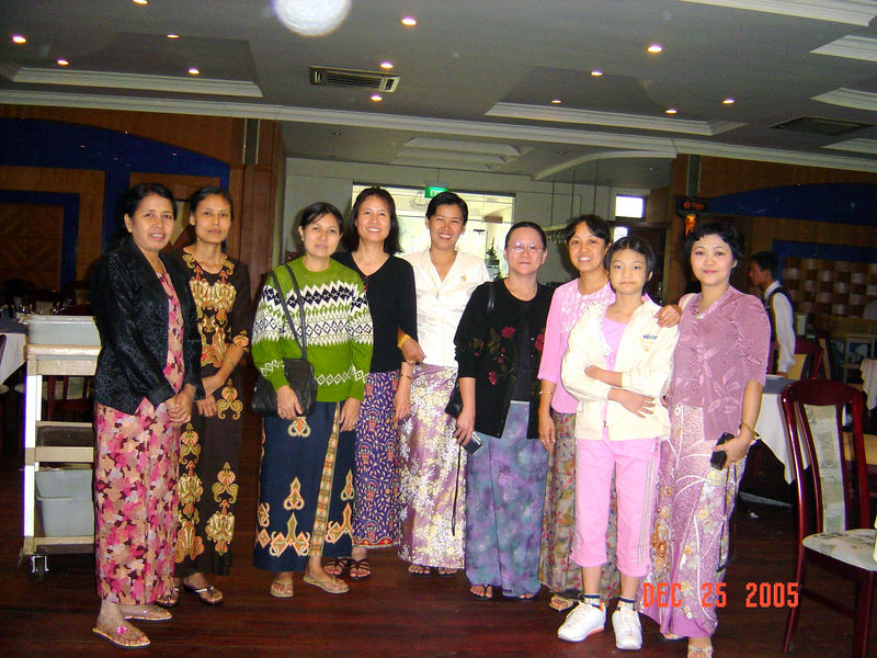 Thidar Naing, Naing Naing Aung, Ohnmar, Nilar Myint, Ohnmar Khine (Moe Lone), Naing Naing Aye, Khin Khin Oo, Sophia & Khin Myo Lwin (Mavis)<br /> Royal Garden Restaurant, Yangon, Dec 2005<br /> photo credit: NM