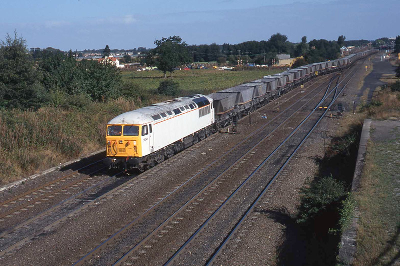 13 September 1996 :: A clearer view of white liveried 56041 with MGR coal wagons at Milford Junction