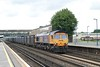 "27 July 2007 :: 66703 ""Doncaster PSB 1981 - 2002"" passing Eastleigh with 4Y19 empty gypsum train from Mountfield to Southampton"