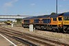"""22 August 2015 :: 66702 """"Blue Lightening"""" in the new Europorte GBRf livery is stabled at Eastleigh"""