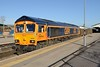 """28 January 2016 :: 66705 """"Golden Jubilee"""" has been re-painted with the Europorte livery and unfortunately lost its Union Jack flag as seen at Westbury while working 6V42, empty stone wagons from Wellingborough to Whatley Quarry"""